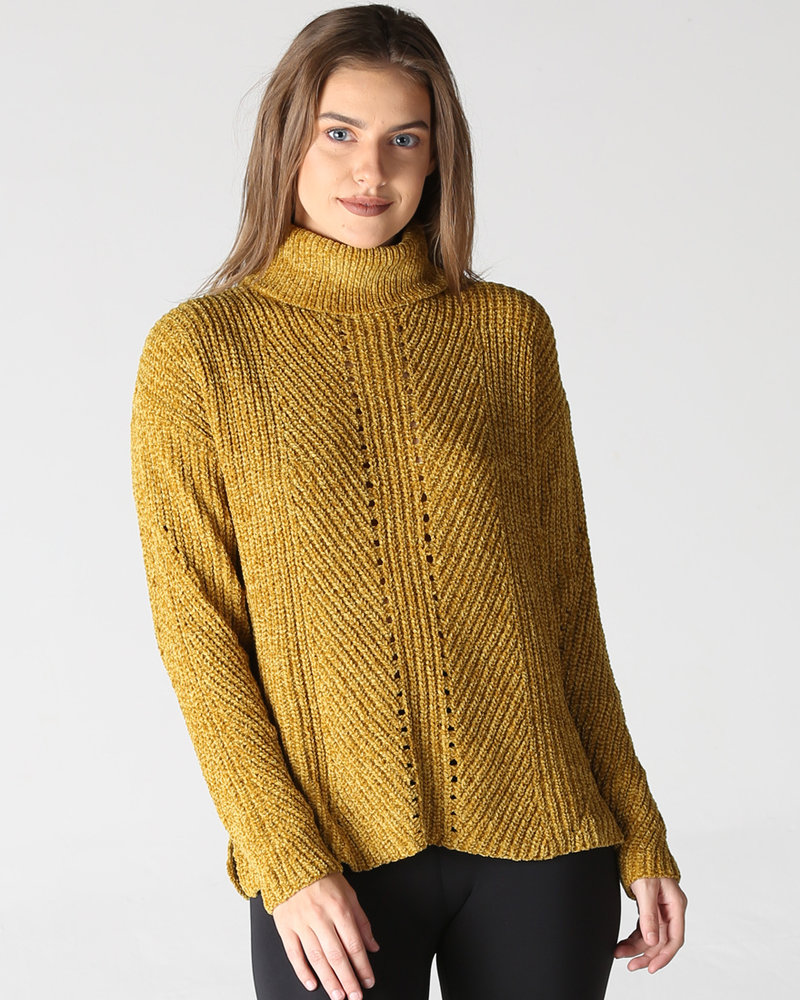 Mustard Chenille Open Knit Pullover Cowl Neck (XHF55)