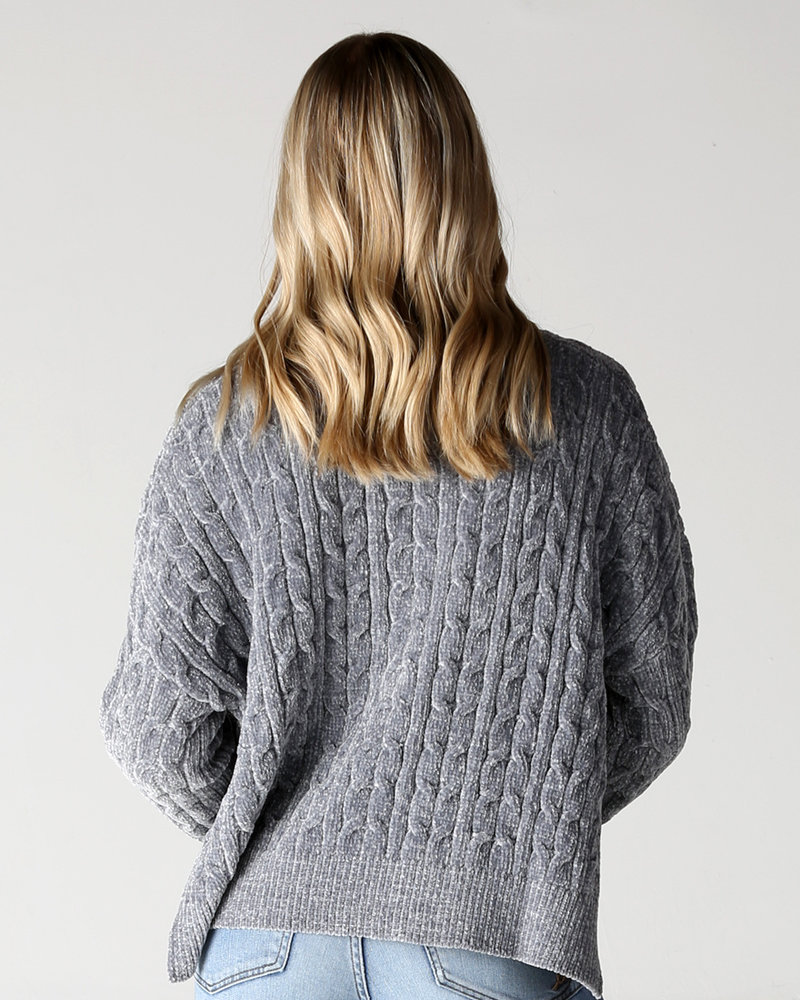 Angie Chenille Cable Crop Pullover (XHG00)