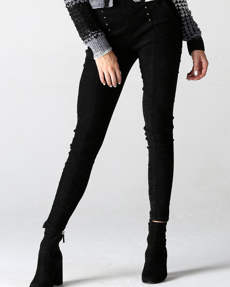 Angie Stretch Corduroy Pants With Silver Button Details (XP879)