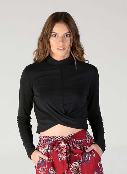 Angie Cupro Twist Front Long Sleeve Crop Top (X2U77)
