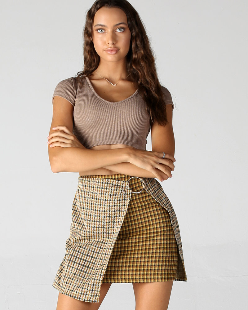 Angie Dual Print Faux Wrap Skirt with Ring (26N59)