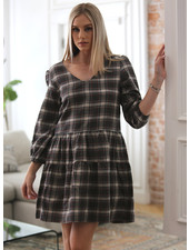 Angie Plaid V-Neck Babydoll Dress (F4C51)