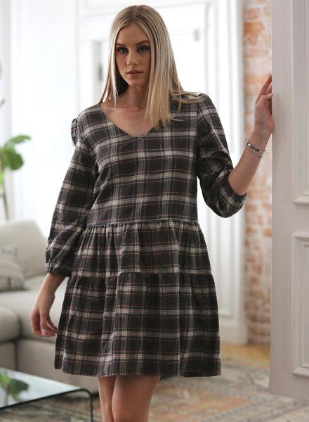 Angie Plaid V-Neck Babydoll Dress (F4C51)