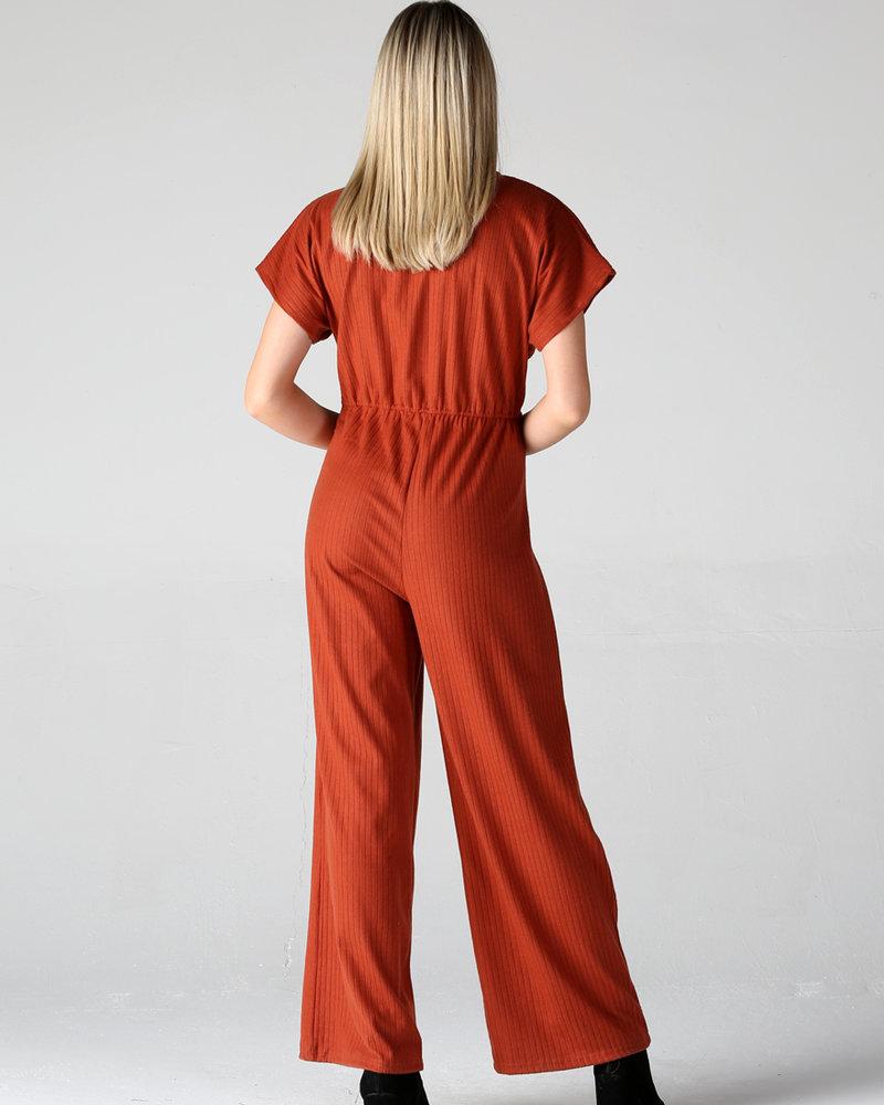 Angie Rib Knit Twist Front Jumpsuit (Q5V17)
