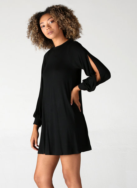 Angie Slit Long Sleeve Knit Dress (X4V07)