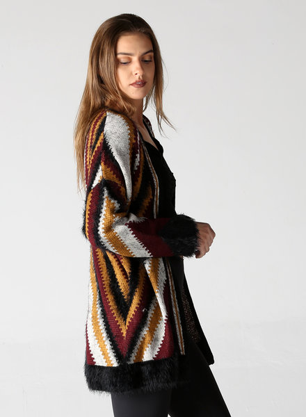 Angie Fuzzy Stripes Open Cardigan (XHF97)