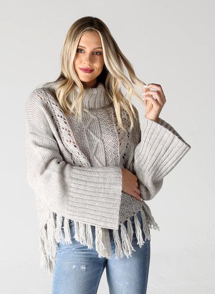 Fringe Hem Cowl Neck Pullover (XHE06)