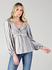 Angie Twist Front Striped Long Sleeve Top (F2416)