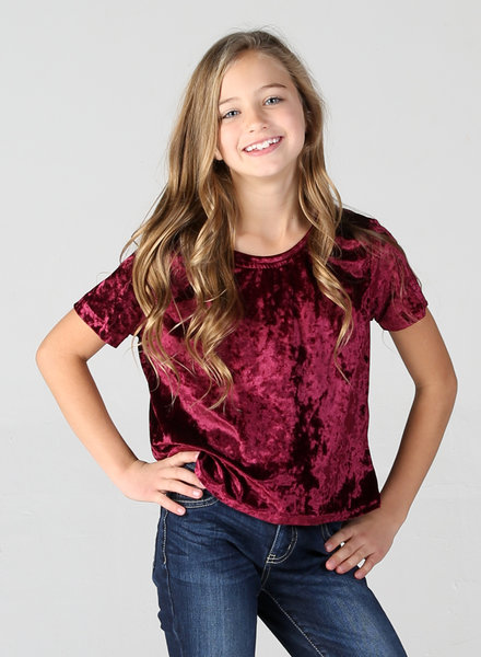 Angie Girl Angie Girl Crushed Velvet Tee Shirt (K2412)