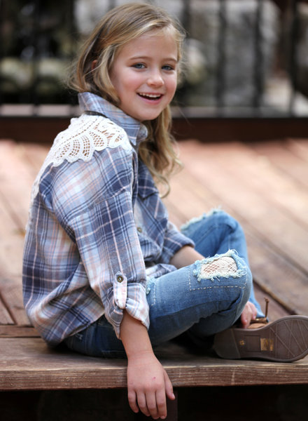 Angie Girl Angie Girl Plaid Top With Crochet Back (K2T58)