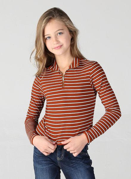 Angie Girl Angie Girl Zip Up Striped Ribbed Knit (K2V01)