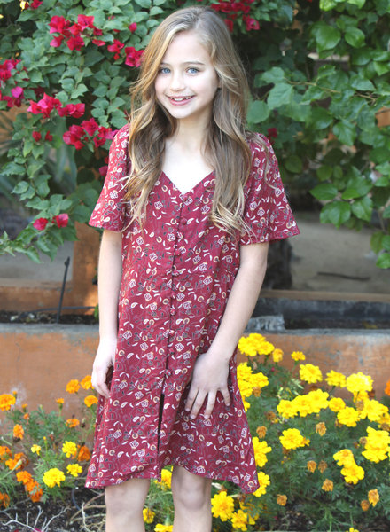 Angie Girl Angie Girl V Neck Covered Button Front Dress(K4DD5)