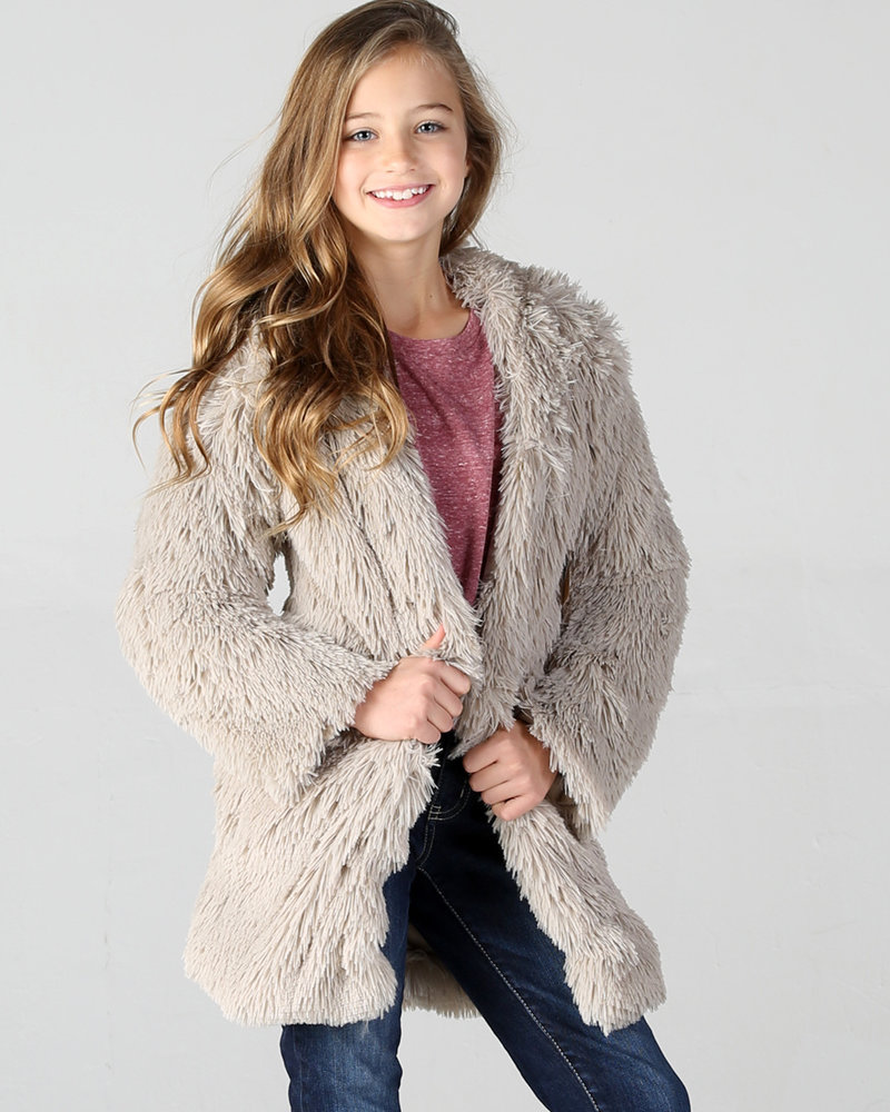 Angie Girl Angie Kids Long Furry Coat (KJ711)