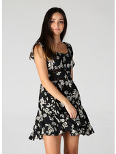 Button Front Dress With Lace Inserts (F4D09)