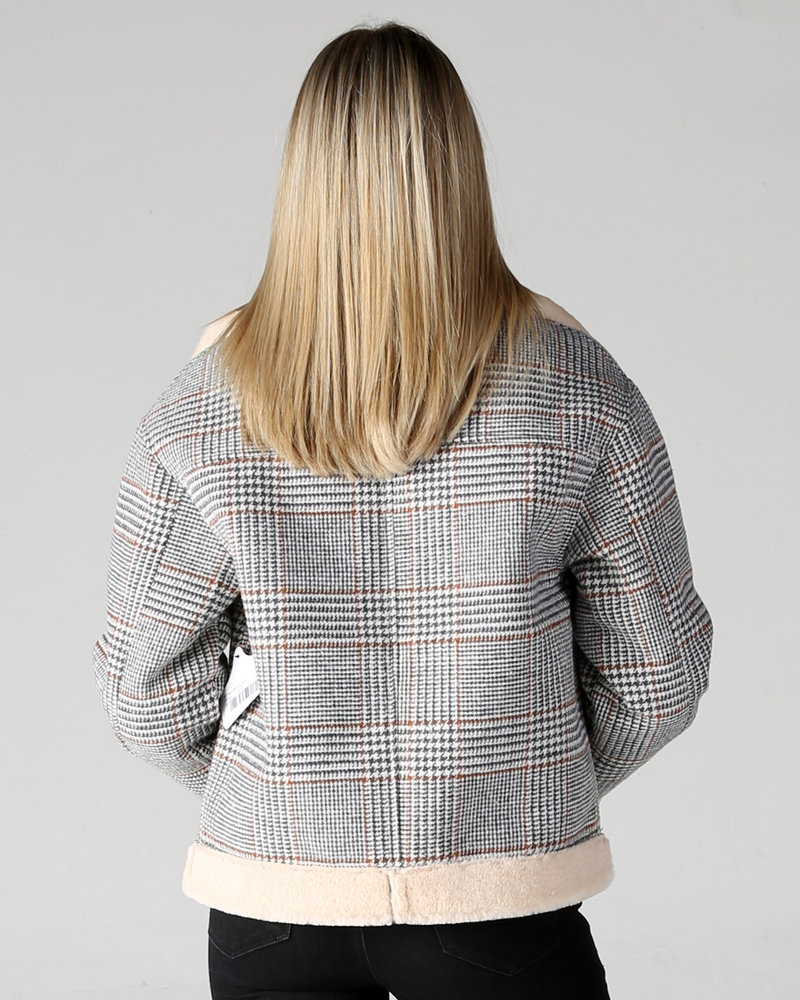 Angie Plaid Zip Up Jacket With Faux Fur Lining (SJ936)