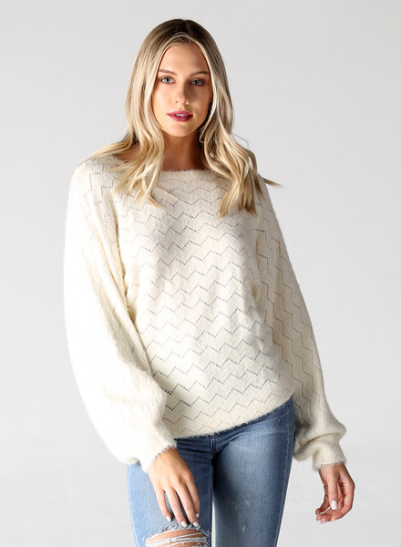 Angie Fuzzy Balloon Sleeve Crop Length Zig Zag Pullover (XHF43)
