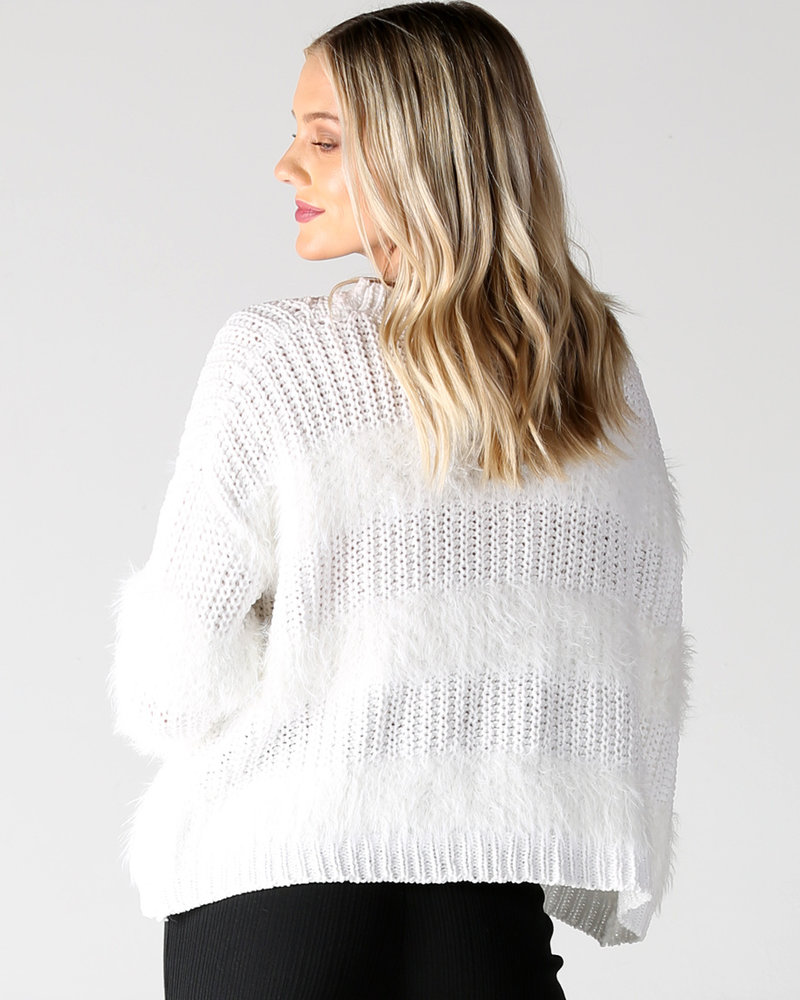 Angie Fuzzy Stripes Pullover (XHG13)