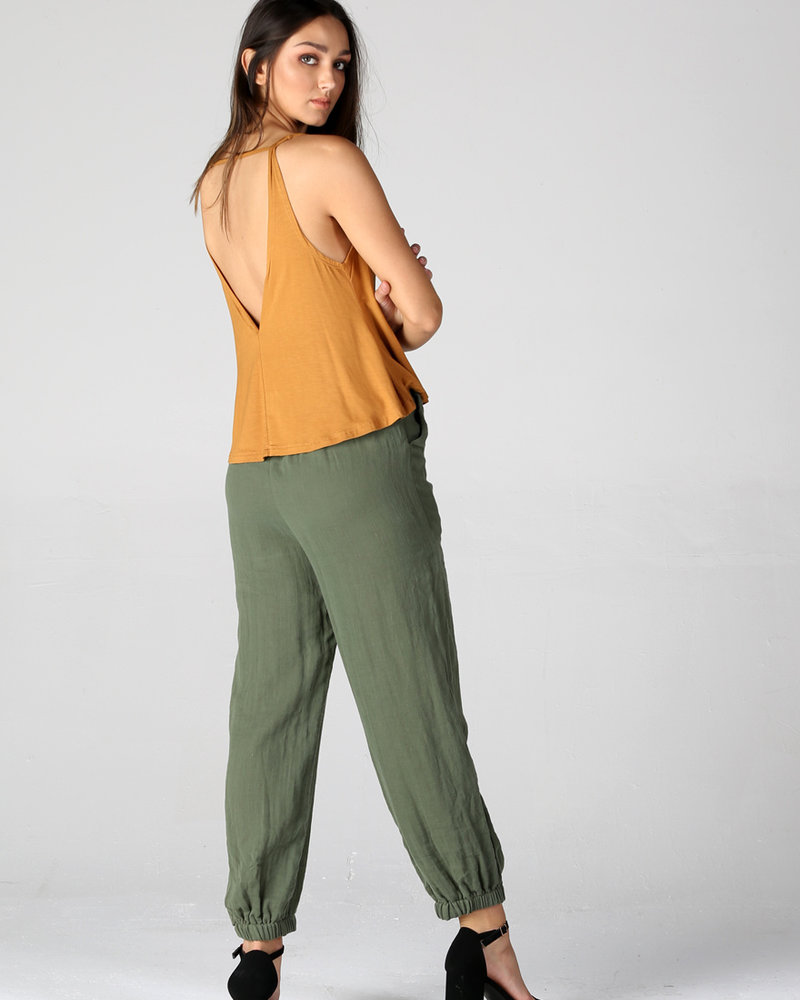 Angie Double Gauze Jogger Pant With Pockets (B3399)