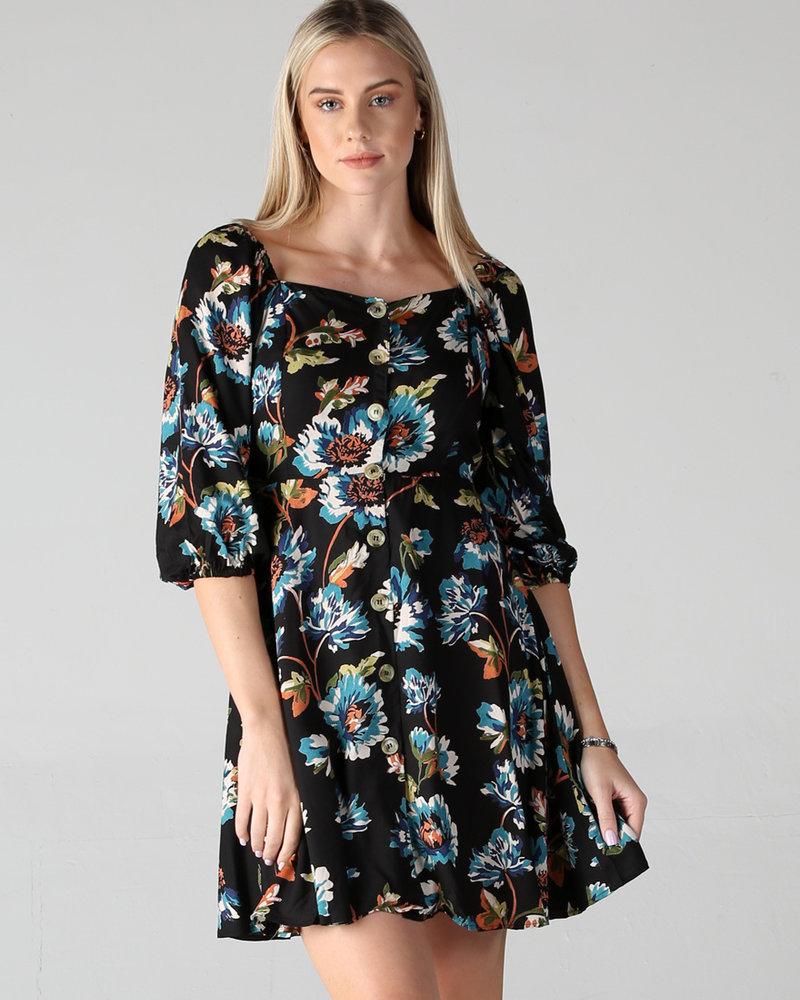 Angie Print Long Sleeve Button Front Dress (F4B30)