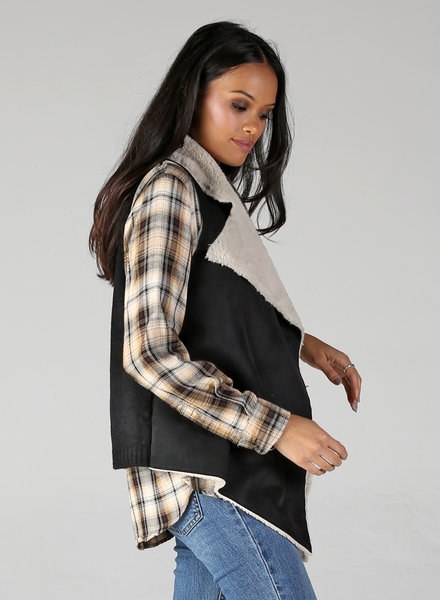 Angie Shearling Lined Vest With Sweater Back (SJ701)