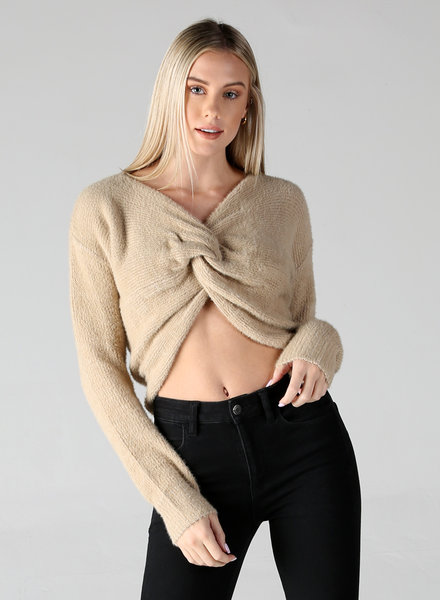 Angie Twist Front Crop Fuzzy Sweater (F2233)