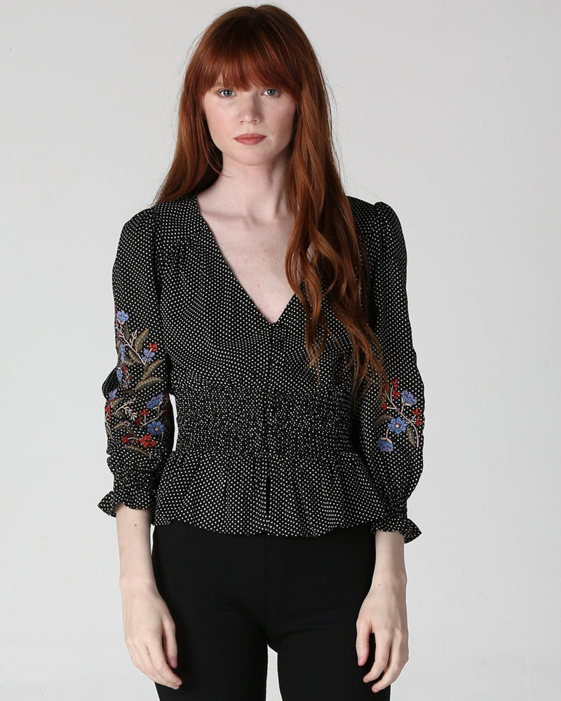 Angie Long Sleeve Embroidery on Sleeve (F2290)