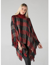 Angie Black & Red Check Sweater Poncho (XHD44)