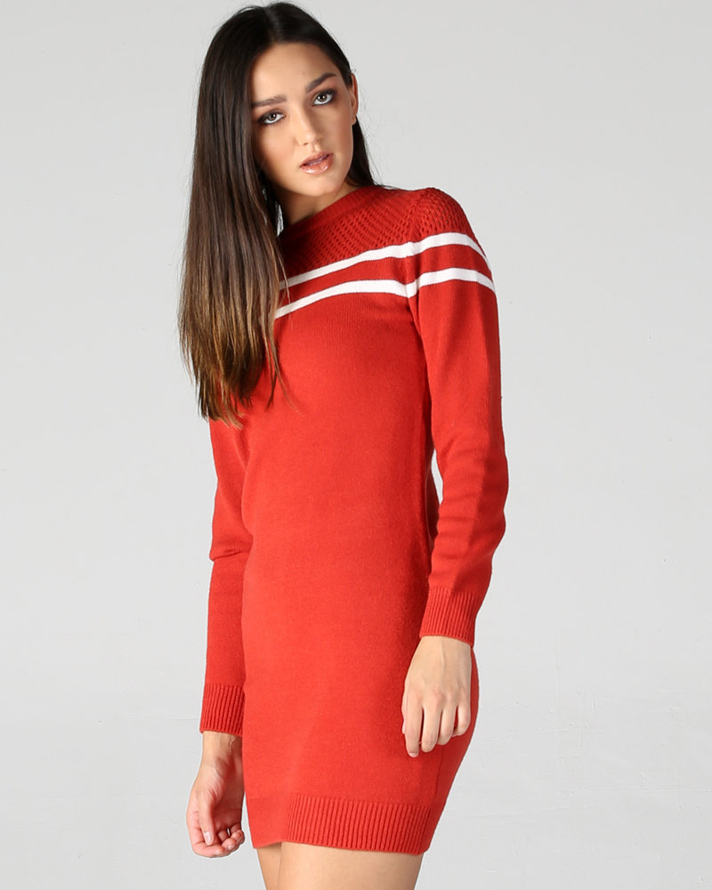 Angie Holey Neck Striped Sweater Dress (XHG40)