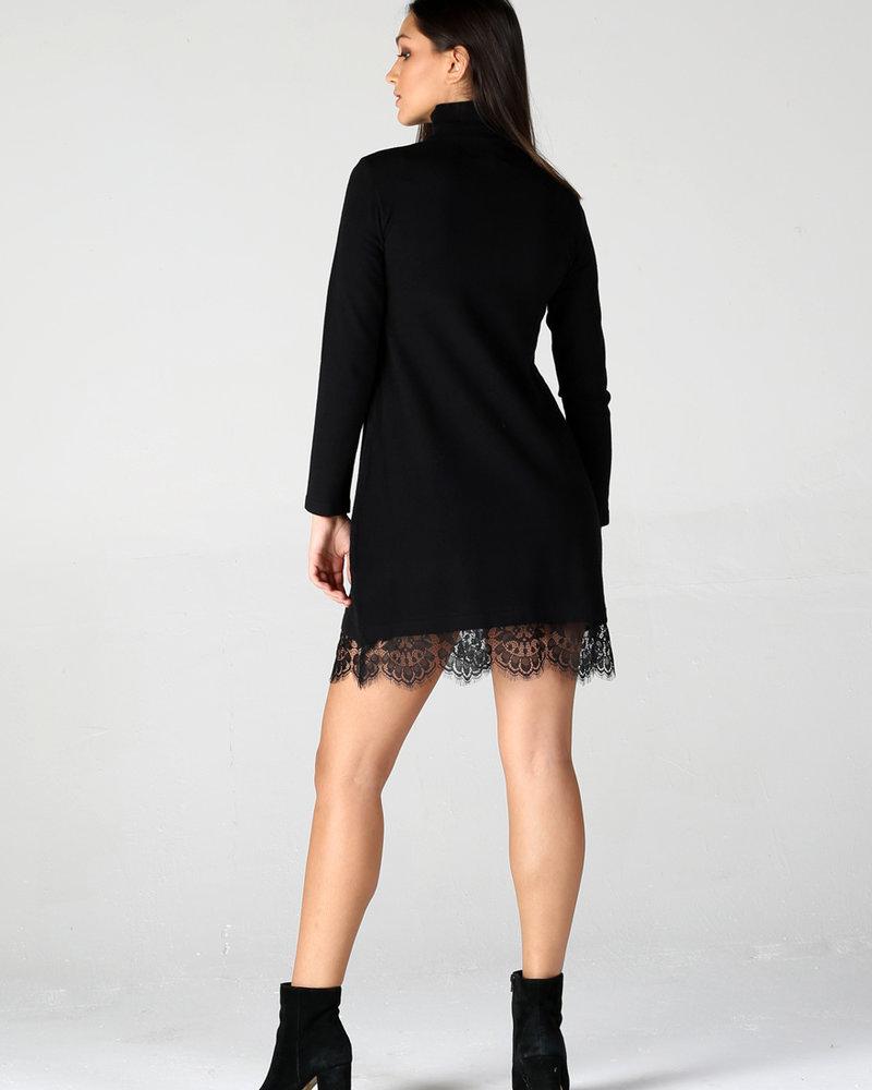 Lace Hem Sweater Dress (XHG42)