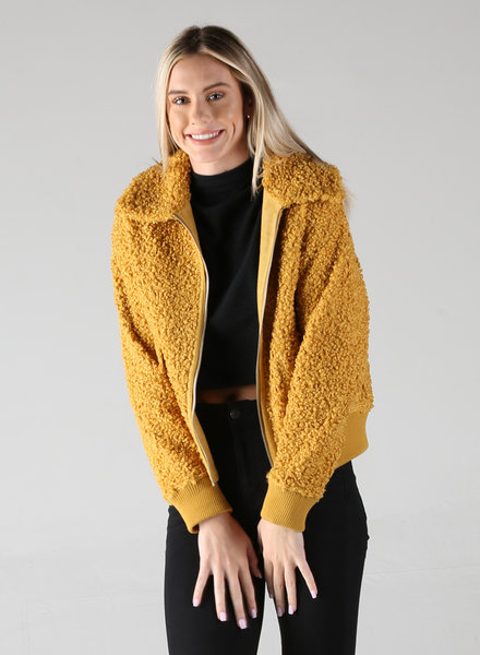 Angie Reversible Curly Yarns And Faux Suede Zip Up Jacket (SJ937)