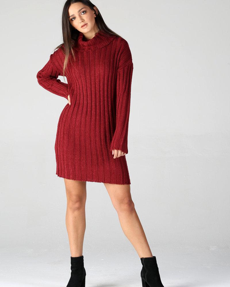 Large Rib Knit Sweater Dress (XHG41)
