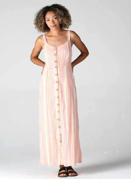 Angie Button Up Maxi Tank Dress (F4B69)