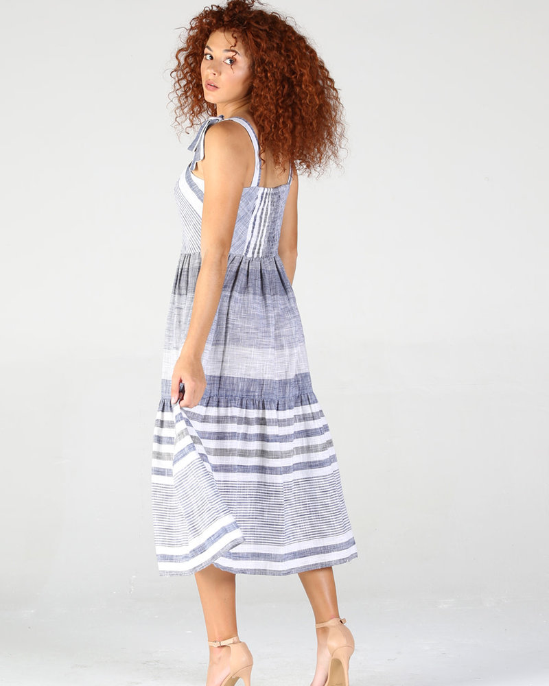 Angie Striped Button Front Dress With Tie Straps (F4D17)