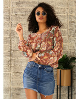 Angie Printed Balloon Sleeve Top (F2482)