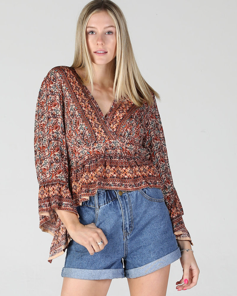Angie V Neck Bell Sleeve Top (F2095)