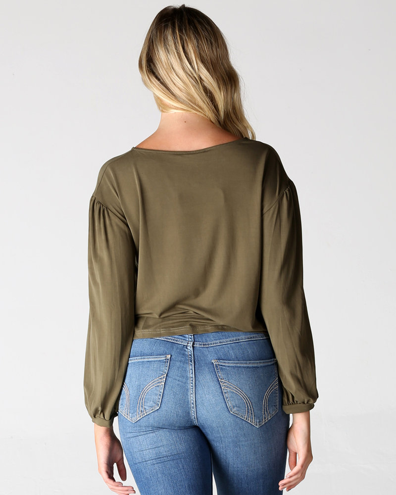 Angie Balloon Sleeve Crop Length Knit Top (X2Z13)