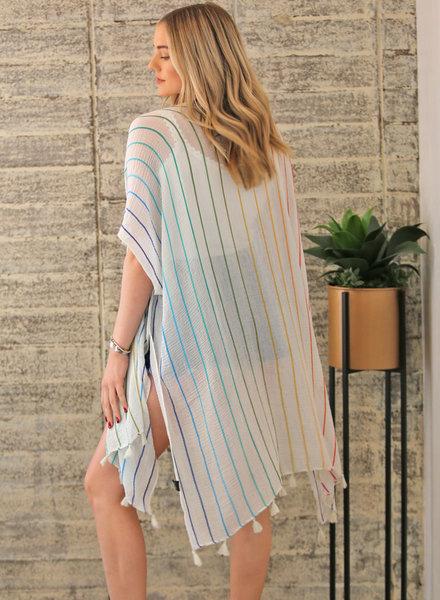 Angie Rainbow Stripes Kimono (X2AZO)