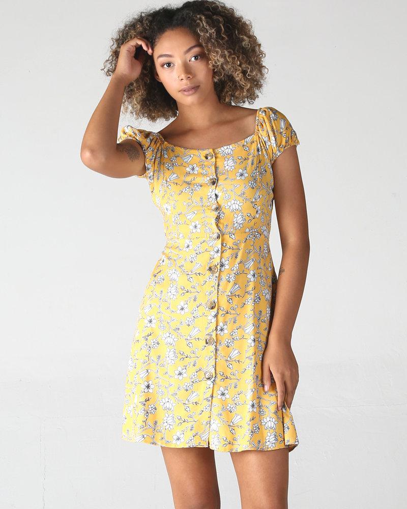 Angie Short Dress Button Down Cap Sleeve (F4C60)