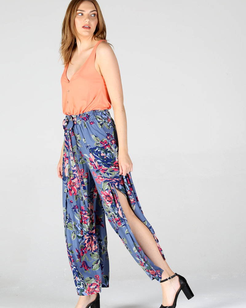 Angie Wide Leg Pants With Slit (25P63)