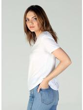 Angie Scoop Neck Short Sleeve Tee Shirt Slight Hi-Low Raw Hem (X2AG4)