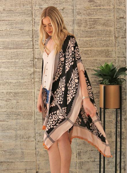 Angie Printed Kimono with Pom Poms (X2W48)