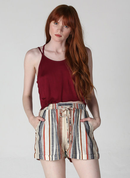 Angie Striped Linen Shorts (BS695)