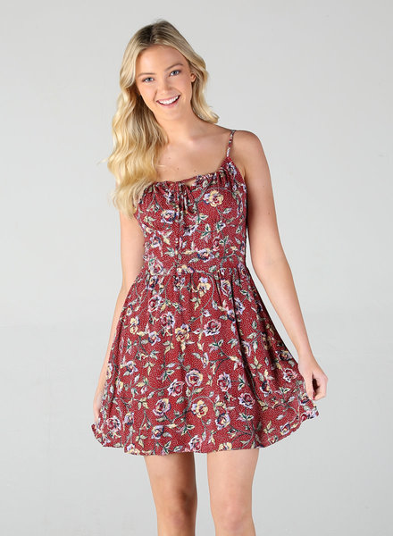 Angie Spaghetti Strap Dress With Keyhole And Tie Front (B4NN6)