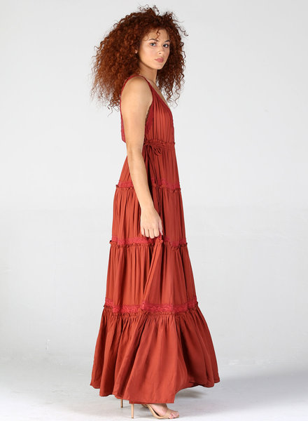Angie V Neck Tiered Skirt Maxi Dress With Drawstring Waist (B4WW2)