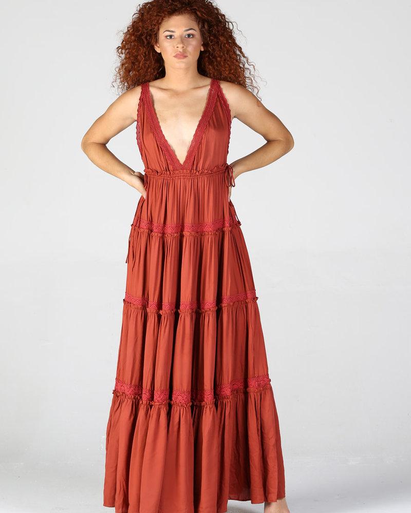 Angie V Neck Tiered Skirt Maxi Dress With Drawstring Waist (B4WW2)