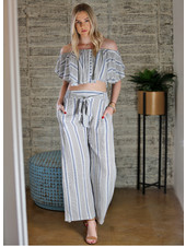 Angie Striped Wide Leg Pants with Self Tie (25C71)