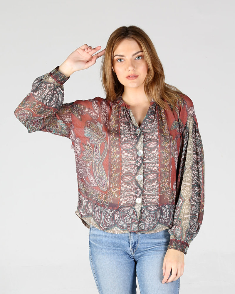 Angie Long Sleeve Button Down Top (F2251)