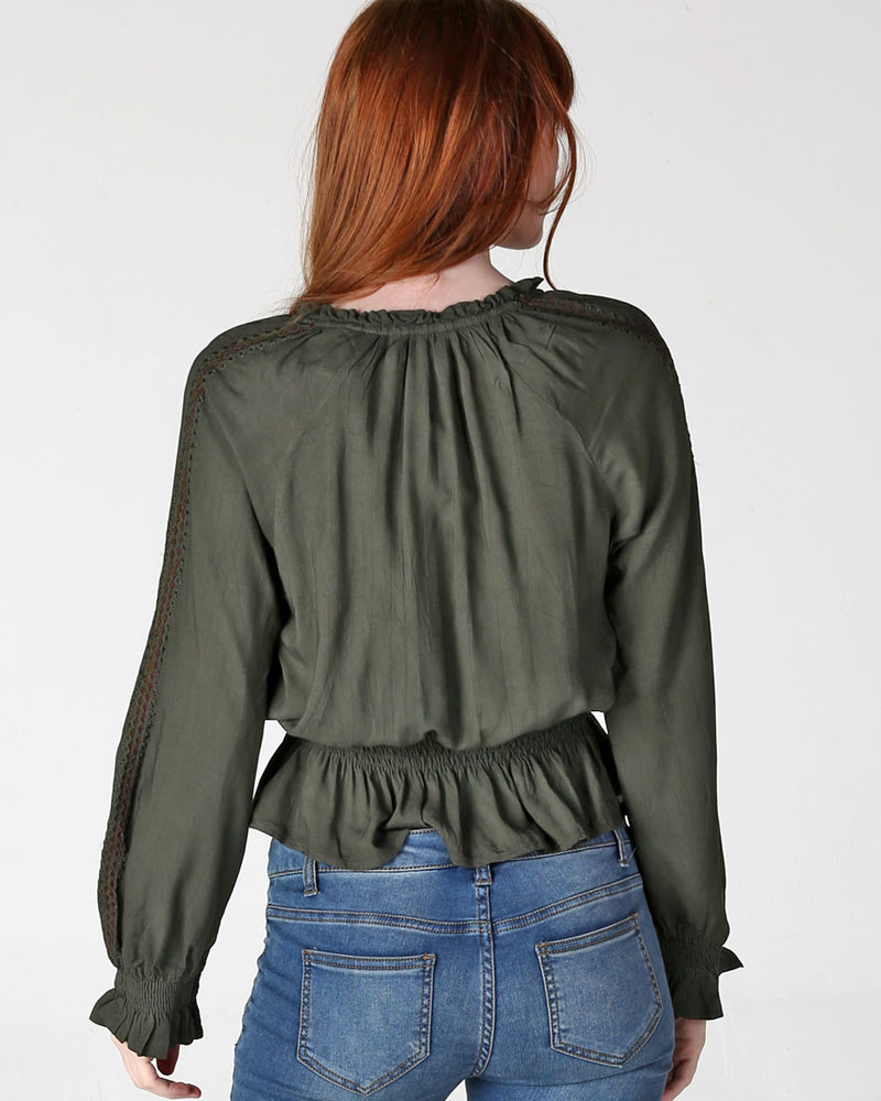 Angie Embroidered Long Sleeve Elastic Waist (F2273)