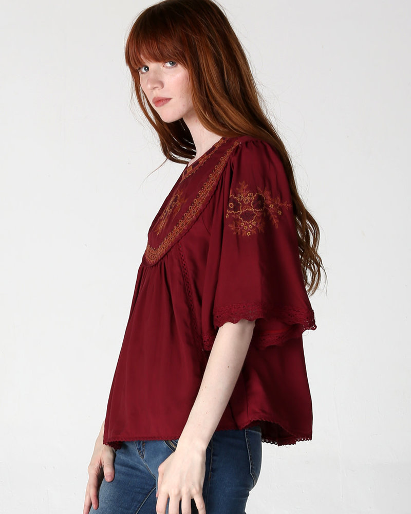 Angie Embroidered Top With Bell Sleeve (F2276)