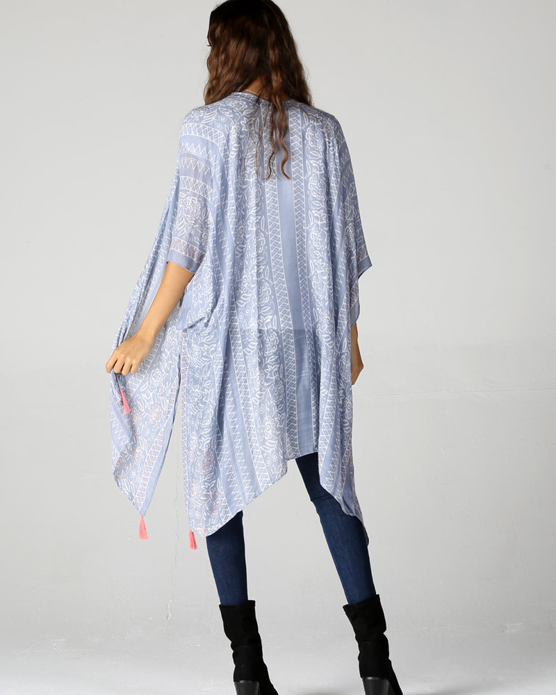 Angie Pink Tassel Printed Kimono (X2AZ1)